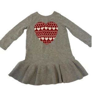BABY GAP Grey Heart Graphic Ruffle Sweater Dress